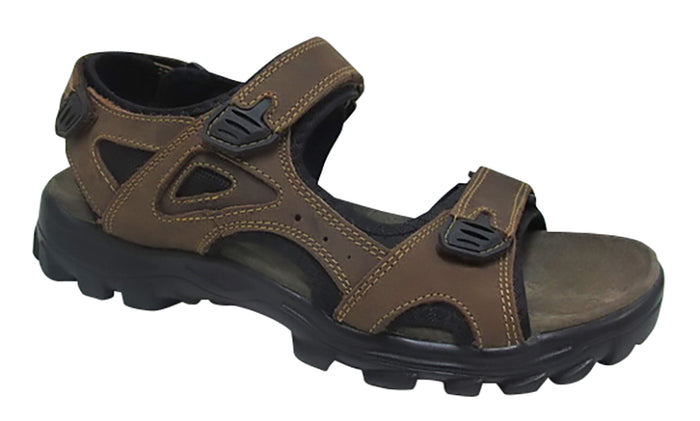 Roamers M523B Brown Leather Mens Casual Comfort Sandals