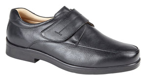 Roamers M688A Black Mens Casual Comfort Leather Touch Fastening Shoes