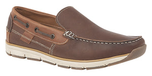 Roamers M9543B Brown Leather Men's Casual Leisure Moccasins Shoes