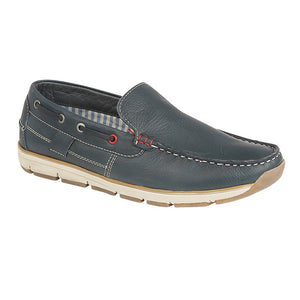 Roamers M9543C Navy Leather Men's Casual Leisure Moccasins Shoes