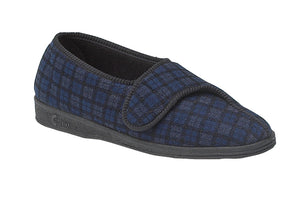 Comfylux MS236C Paul Navy Blue Check Mens Washable Comfort Slippers
