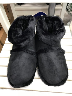 Mens Coolers Black Cosy Warm Lining Pull On Bootie Slippers