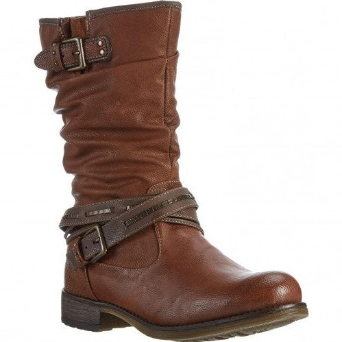 Mustang 1139-624-307 Cognac Womens Casual Comfort Zip Up Ankle Boots
