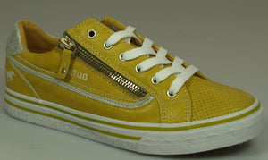 Mustang 1354-304-6 Yellow Womens Casual Comfort Lace Up/Zip Up Trainers
