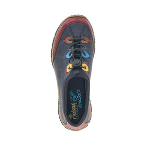 Rieker N3271-35 Blue Combi Womens Casual Comfort Adjustable Toggled Shoes