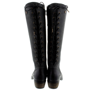 Oak & Hyde Rita Hi Black Womens Premium Leather Casual Stylish Calf Boots