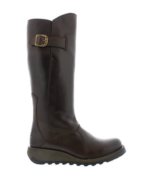 Fly London Mol 2 Dark Brown Womens Real Leather Zip Low Wedge Knee High Boots