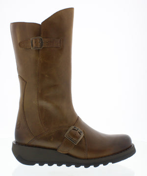 Fly London Mes 2 Camel Womens Real Leather Stylish Zip Low Wedge Calf Boots