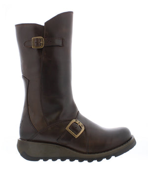 Fly London Mes 2 Dark Brown Womens Real Leather Stylish Zip Low Wedge Calf Boots