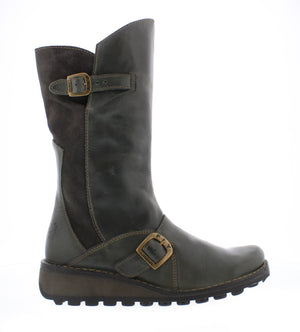 Fly London Mes Diesel Womens Real Leather/Suede Stylish Zip Low Wedge Calf Boots