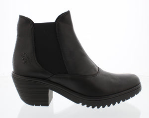Fly London Wote078FLY Black Womens Stylish Comfort Heeled Ankle Boots