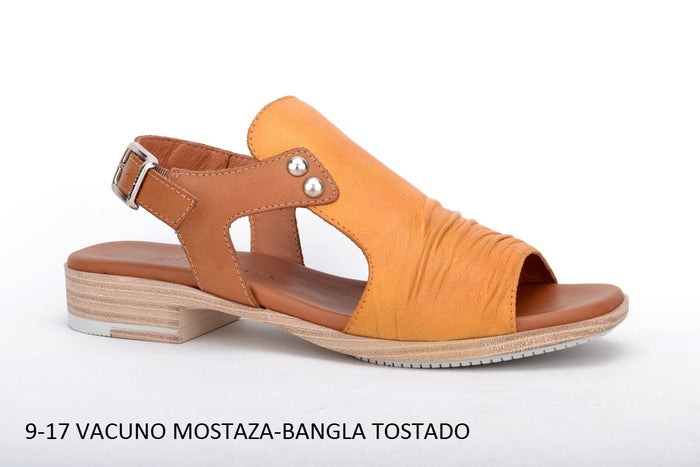 Paula Urban Vacuno Mostaza Womens Casual Comfort Leather Open Toe Sandals