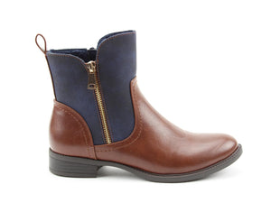 Heavenly Feet Petra Brandy/Navy Womens Casual Comfort Vegan Friendly Ankle Boots