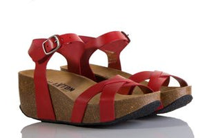 Plakton 275087 Sitges Hi Red Womens Casual Comfort Leather Sandals