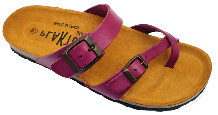Plakton Vaquetilla Ciclamino 101032 Womens Leather Slip On Casual Buckle Sandals