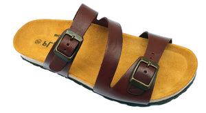 Plakton Vaquetilla Cuero Rojizo 3480 Womens Leather Casual Buckle Sandals