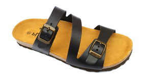 Plakton Vaquetilla Navy 101210 Womens Leather Slip On Casual Buckle Sandals