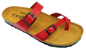 Plakton Vaquetilla Rojo 101032 Womens Leather Slip On Casual Buckle Sandals