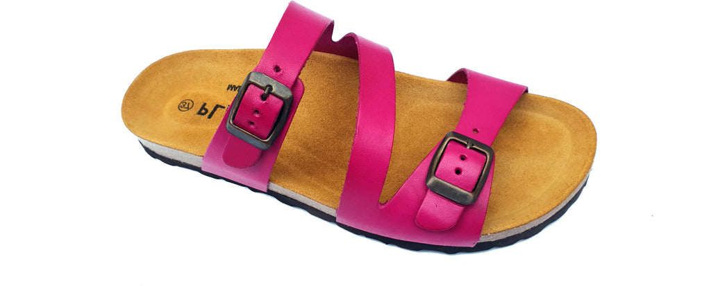 Plakton Verona Magenta 101210 Womens Leather Casual Buckle Slip On Sandals