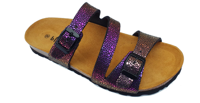 Plakton Verona Morado 101210 Womens Leather Casual Buckle Metallic Sandals