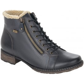 Remonte D4372-14 Navy Womens Casual Comfort Leather Zip Up/Lace Up Ankle Boots