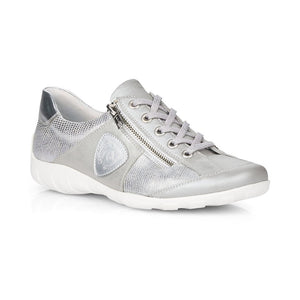 Remonte R3409-90 Silver Combination Womens Leather Lace Up and Zip Shoes