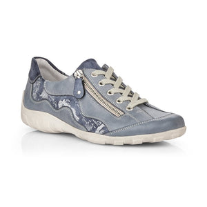 Remonte R3416-14 Womens Blue Combination Lace Up and Zip Leather Shoes