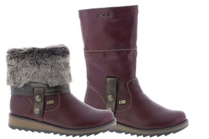 Remonte D8874-35 Wine Womens Casual Comfort Roll Down Boots