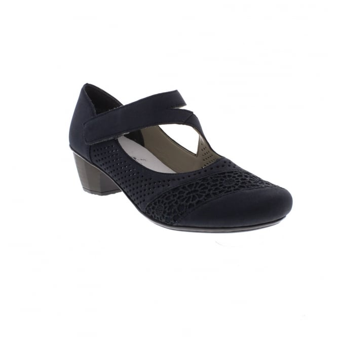 Rieker 41743-14 Navy Womens Casual Comfort Touch Fastening Heeled Shoes