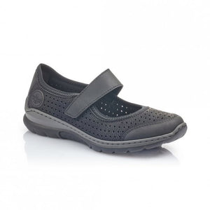 Rieker L32B5-00 Black Womens Casual Comfort Touch Fastening Shoes