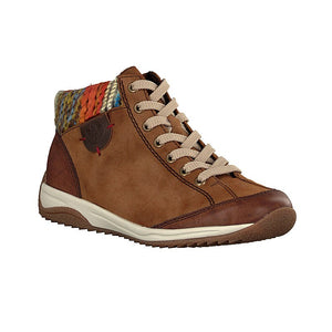 Rieker L5231-22 Brown Womens Lace Up and Inside Zip Warm Lined Ankle Boots