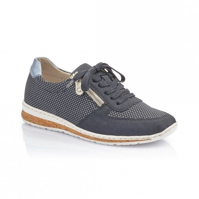 Rieker N5121-14 Navy Womens Casual Comfort Lace/Zip Up Shoes