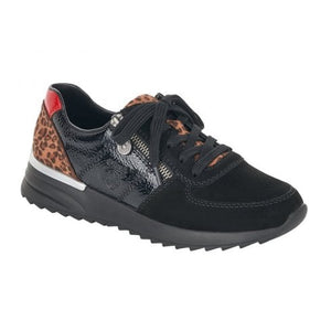 Rieker N8024-00 Black Leopard Womens Casual Comfort Zip/Lace Up Shoes