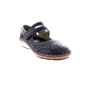 Rieker 44875-14 Navy Womens Casual Comfort Leather Shoes