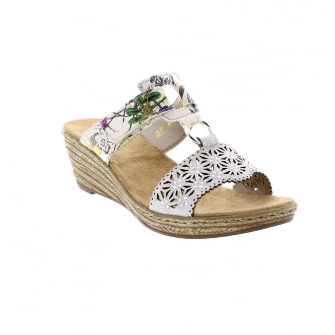 Rieker 62427-80 White Floral Womens Casual Comfort Stylish Sandals