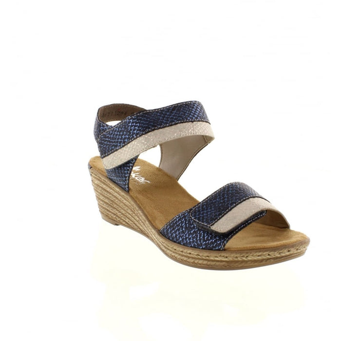 Rieker 62470-14 Blue Womens Casual Comfort Touch Fastening Wedge Sandals
