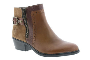 Rieker 75585-24 Tan Womens Casual Comfort Evening Ankle Boots