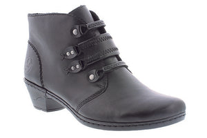 Rieker 76984-00 Black Womens Casual Comfort Stretch Laced Ankle Boots