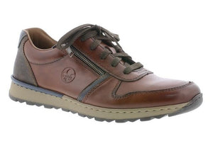 Rieker B2510-26 Brown Mens Casual Comfort Zip/Lace Up Shoes
