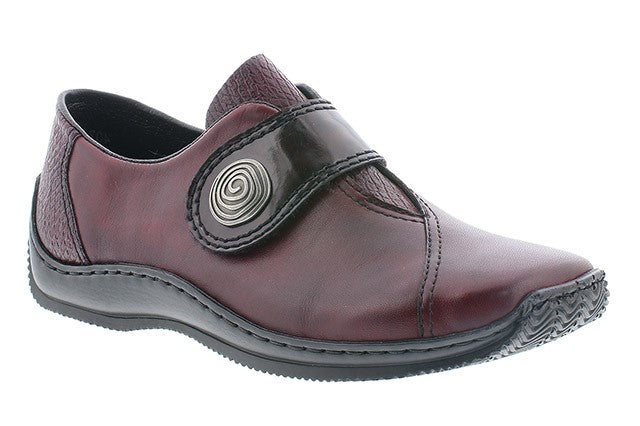 Rieker L1760-35 Wine Womens Casual Comfort Leather Shoes