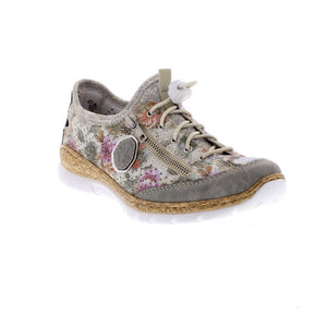 Rieker N42V1-40 Grey Multi Womens Casual Comfort Toggle Lace Shoes