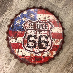 Bottle Cap Hanging Wall Decoration/Art - Route 66 Edition