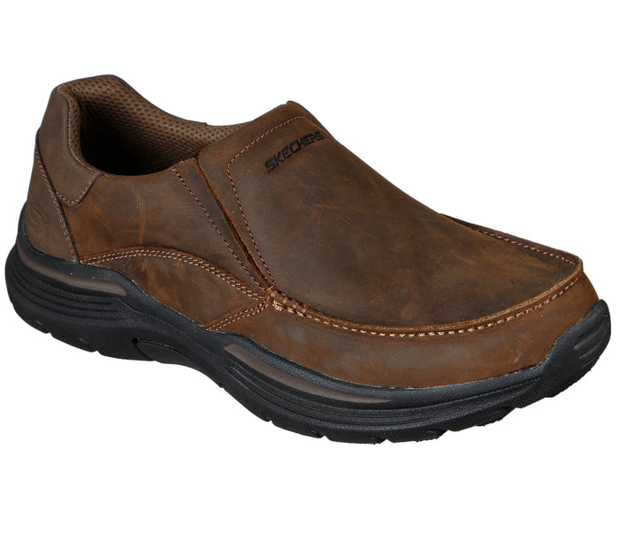 Skechers 204185/CDB Brown Mens Casual Comfort Leather Slip On Shoes