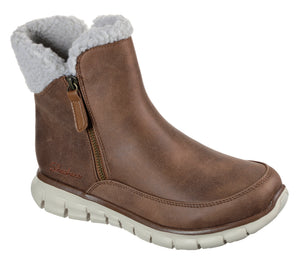 Skechers 44779/CSNT Chestnut Womens Casual Comfort Zip Up Ankle Boots