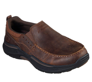 Skechers 66146/CDB Brown Mens Casual Comfort Leather Slip On Shoes