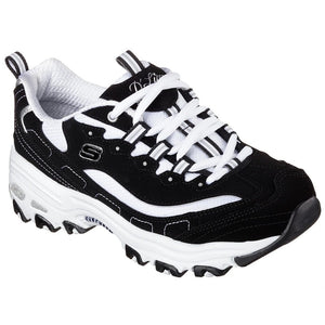 Skechers 11930 BKW Black White Women's Leather Sporty Casual Trainers