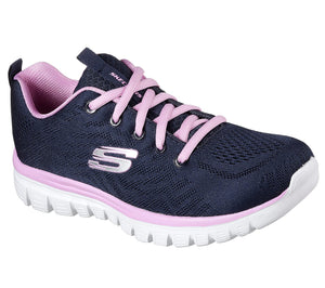 Skechers 12615/NVPK Navy Women's Sporty Knit Mesh Upper Trainers