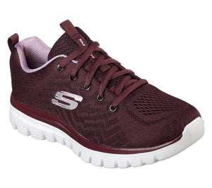 Skechers 12615 WINE Women's Sporty Knit Mesh Upper Trainers