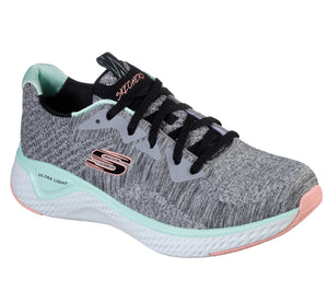 Skechers 13328/GYMT Grey Womens Casual Comfort Lace Up Trainers