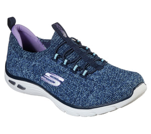 Skechers 149007/NVAQ Navy Womens Casual Comfort Elasticated Laced Trainers